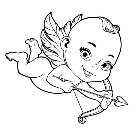 Schwarz-Weiß-Vektor-Illustration mit Baby-Amor einen Bogen schießen Standard-Bild - 52469482