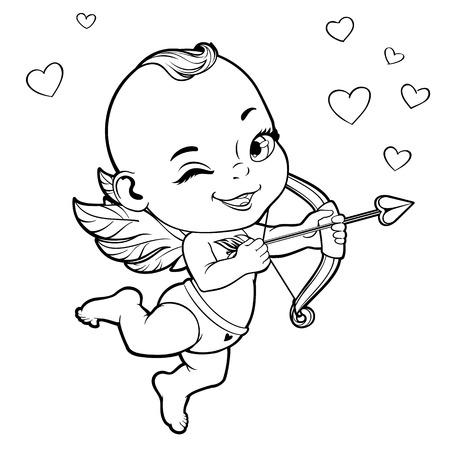 Ejemplo blanco y negro del vector con el bebé de Cupido disparando un arco