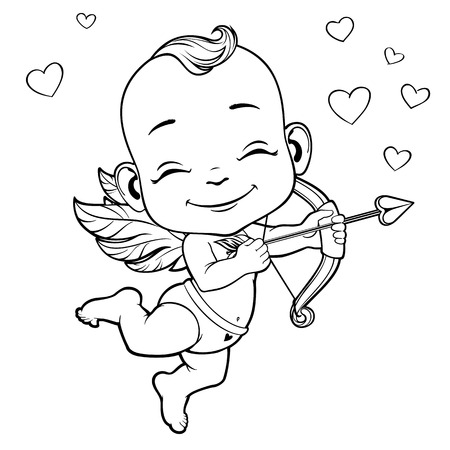 amur: Black and white vector illustration with Baby Cupid shooting a bow Illustration