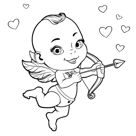 black boys: Black and white vector illustration with Baby Cupid shooting a bow Illustration