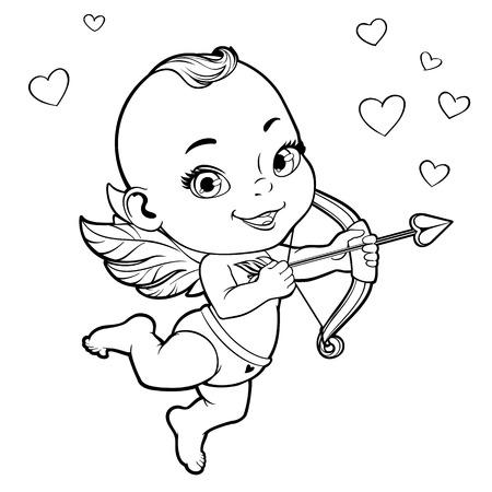 Schwarz-Weiß-Vektor-Illustration mit Baby-Amor einen Bogen schießen Standard-Bild - 52469485