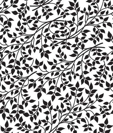 sprigs: Vector black and white seamless pattern with sprigs