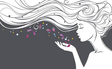 美しい長い髪の少女とベクトル図が彼女の手のひらから花びらを吹き飛ばす