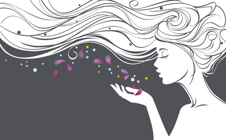 light hair: Vector illustration with beautiful  long hair girl blows away flower petals from her palm
