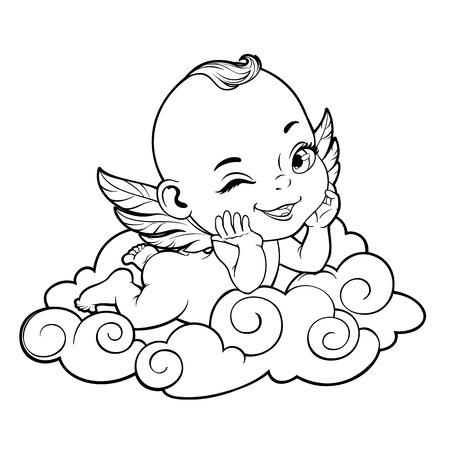 Black and white vector illustration with Baby Cupid shooting a bow Vectores