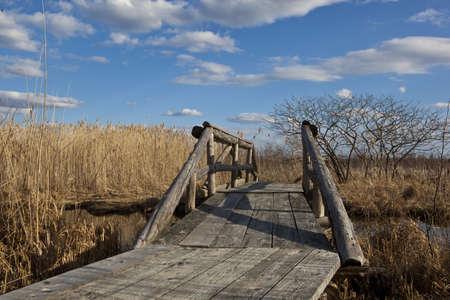 cane creek: Small foot-bridge over the creek  Lac Saint-Francois National Wildlife area  Stock Photo