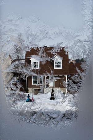 windows: Winter street through the icy window...