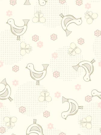 tile able: Sfondo trasparente di uccelli e farfalle.  illustrazione.