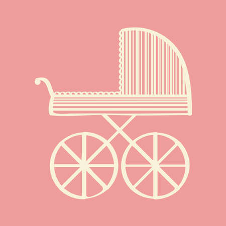 ruching: Baby carriage. Vector illustration. Illustration