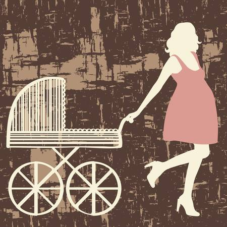 prenatal: Pregnant woman with carriage. Vector illustration.