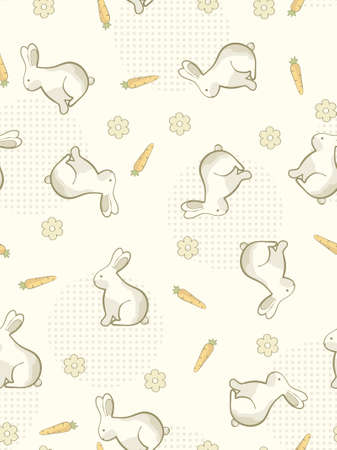 illustration. Seamless rabbits and carrots background. Vector