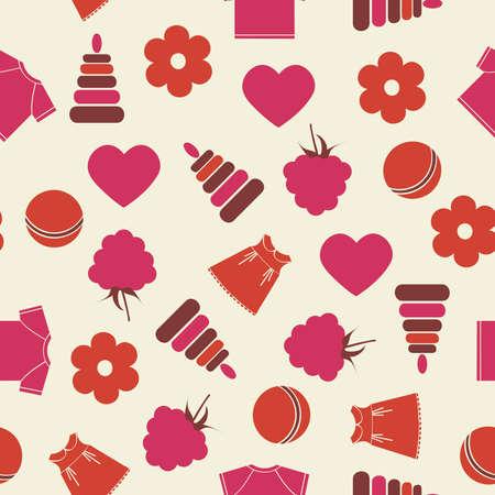 raspberry pink: illustration. Seamless baby background.