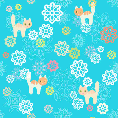 Seamless flowers and cats background Vector