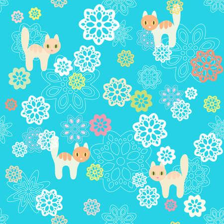 tile able: Sfondo di fiori e gatti senza soluzione di continuit�