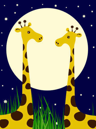 camelopard: Couple of giraffes on the night sky background Illustration