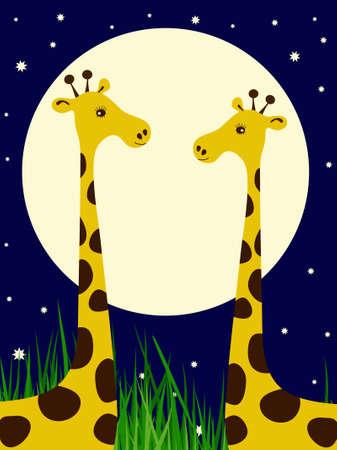 Par de jirafas en el fondo del cielo nocturno