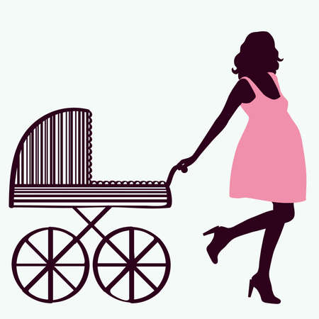 Woman silhouette with baby carriage
