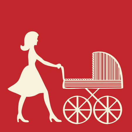 Woman silhouette with baby carriage Stock Vector - 9429910