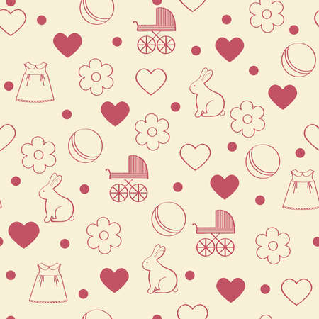 paternity: Seamless girly background. Vector illustration.