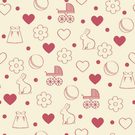 girlish: Seamless girly background. Vector illustration.