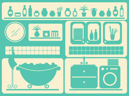 bath room: Bath room and bathing objects set.  illustration.