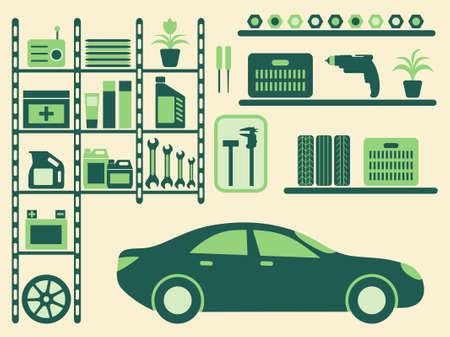 pied   � coulisse: Garage int�rieur et objets silhouettes ensemble. illustration.