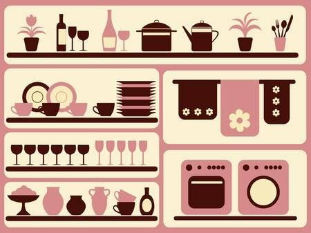 Cuisine ware et accueil objets ensemble. Illustration vectorielle.