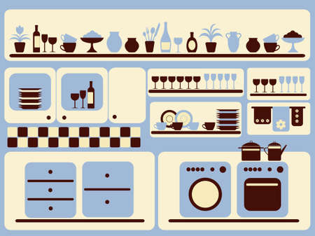 Kitchen ware and home objects set.  illustration. Stock Vector - 9292204