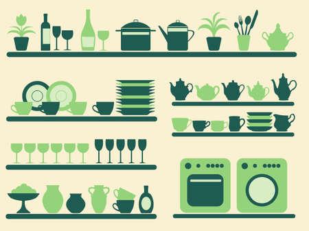 Cuisine ware et accueil objets ensemble.  illustration. Vecteurs