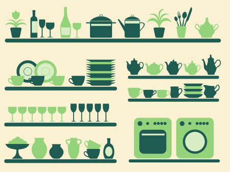 Kitchen ware and home objects set.  illustration. Illustration