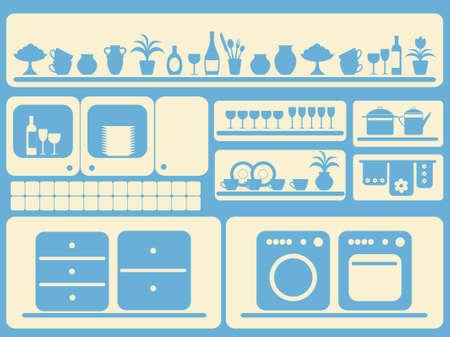 Cuisine ware et accueil objets ensemble.  illustration.