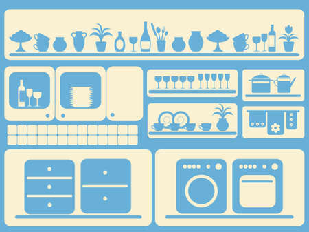 kitchen ware: Kitchen ware and home objects set.  illustration. Illustration