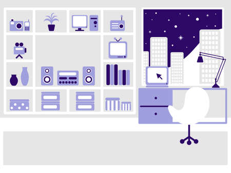 televisor: Modern flat interior on the night city. illustration. Illustration