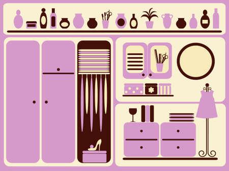 Wardrobe room interior and objects set.  illustration. Vector