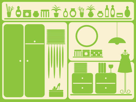 Wardrobe room interior and objects set. Vector illustration.