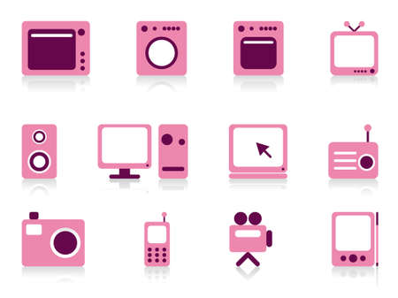 home video camera: Home appliance objects set. Vector illustration.