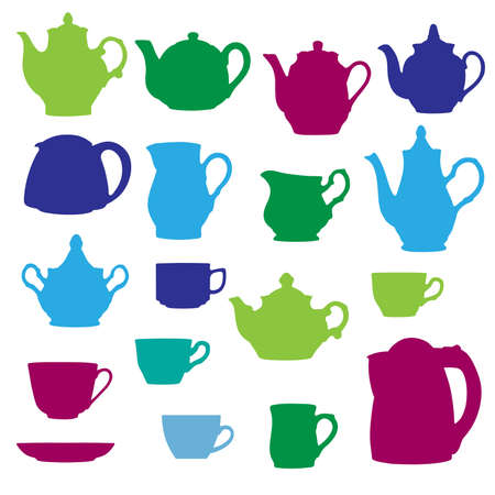 crockery: Kitchen wares objects silhouettes set. Vector illustration.
