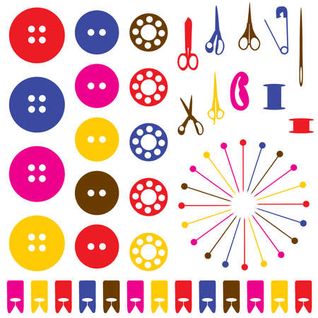 needle and thread: Sewing objects silhouettes set. Vector illustration.  Illustration