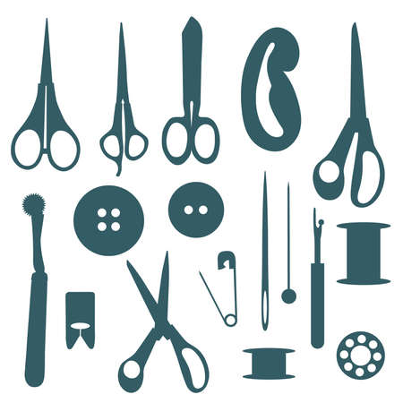 seams: Sewing objects silhouettes set. Vector illustration.  Illustration