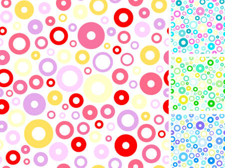 tile able: Seamless multicolored rings abstract backgrounds set. Vector illustration.  Illustration