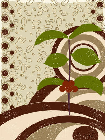 The coffee tree and beans retro background
