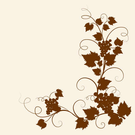 grapes on vine: The grape vine frame background  Illustration