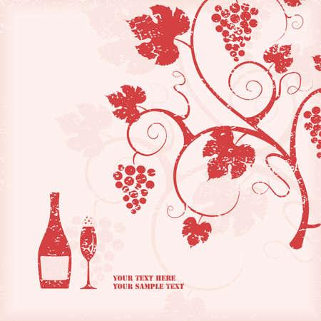 red grape: The grape vine background. illustration.
