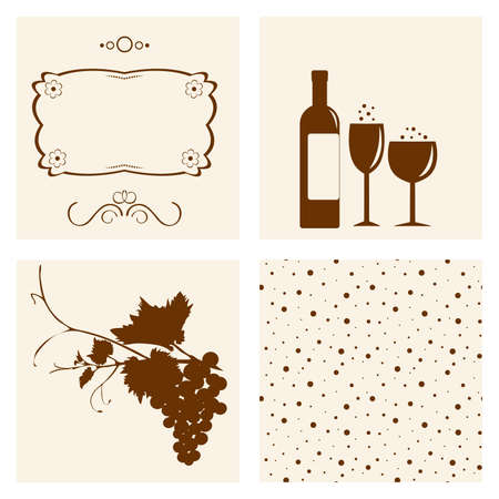 Winery design object silhouettes. Stock Vector - 9429685