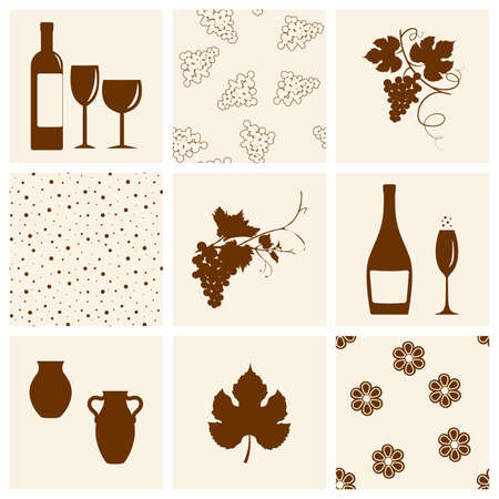 Winery design object silhouettes Illustration