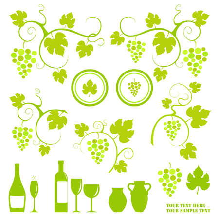 Winery design object silhouettes.  illustration. Illustration
