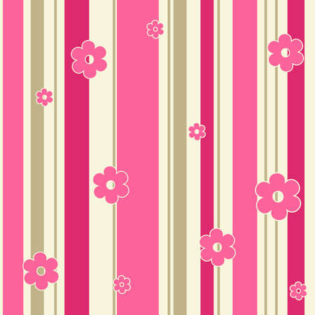 Seamless pink flowers ornate background  Vector