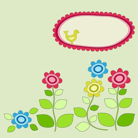 Bird frame with garden flowers  Vector
