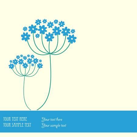 herbary: Blue flowers background.  Illustration