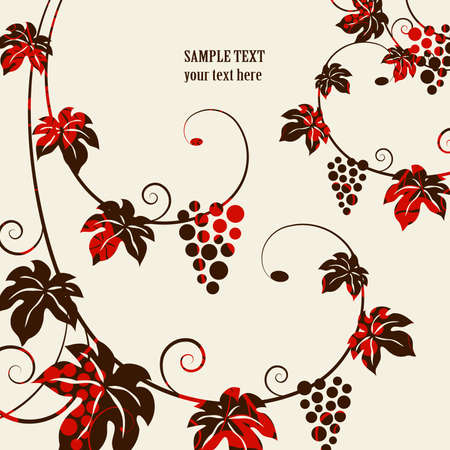 red grape: Grape vines background Illustration